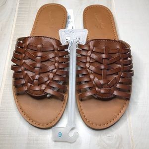 SOLD  Huarache Vegan Leather Brown Sandals Slides
